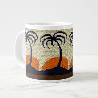Tropical Palm Trees with Orange Sunset Crochet Large Coffee Mug