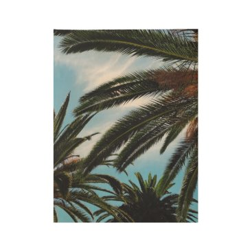 USA Themed Tropical Palm Trees Wood Poster