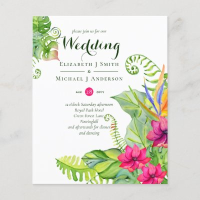 Tropical Palm Wedding Invites Fuchsia Ginger