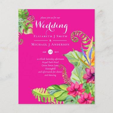 Tropical Palm Wedding Invites Fuchsia Ginger Navy