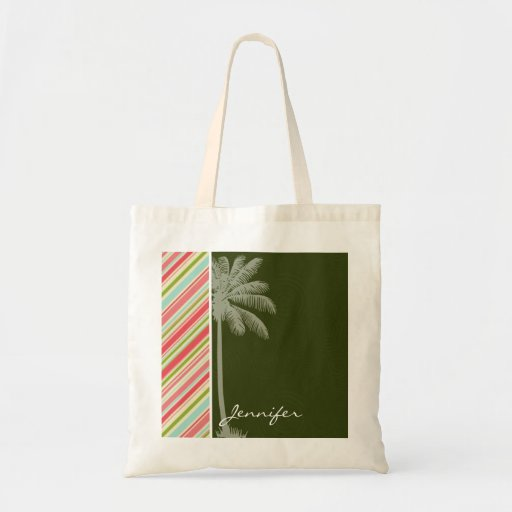 Tropical Palm with Coral & Green Stripes Tote Bags