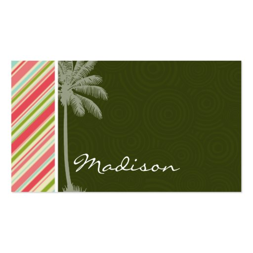 Tropical Palm with Coral & Green Stripes Business Card Templates