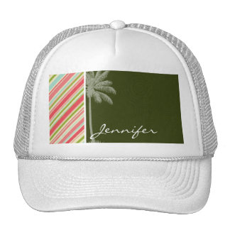 Tropical Palm with Coral & Green Stripes Trucker Hat