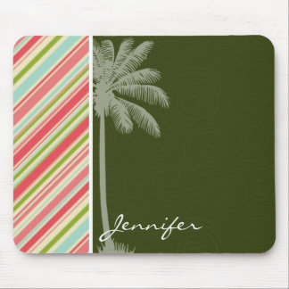 Tropical Palm with Coral & Green Stripes Mouse Pad