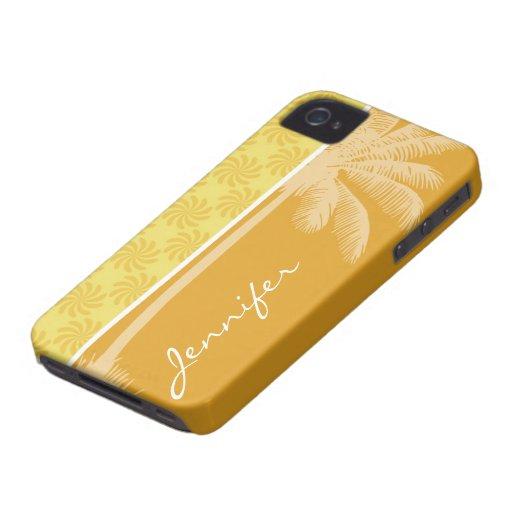 Tropical Palm; Yellow Orange Swirl iPhone 4 Cover