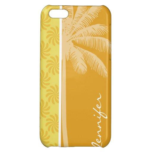 Tropical Palm; Yellow Orange Swirl iPhone 5C Cover