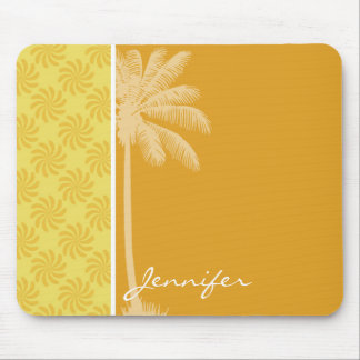 Tropical Palm; Yellow Orange Swirl Mouse Pad