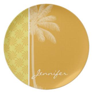 Tropical Palm; Yellow Orange Swirl Party Plates