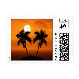 Tropical Palmeras Destino Sellos de boda Postage Stamp