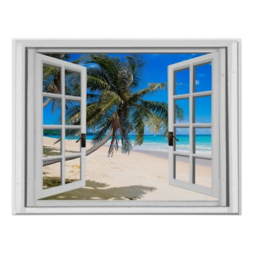 Beach Themed Tropical Palms and Ocean Faux Window View Poster