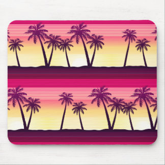 Tropical palms at sunset mouse pad