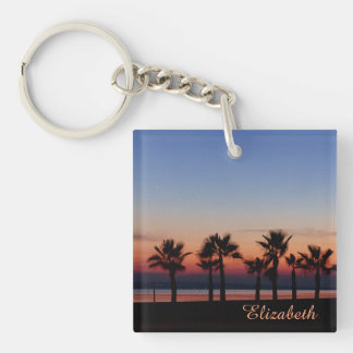 Tropical Palms at Sunset Personalized Keychain