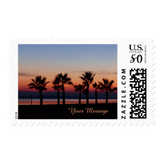 Tropical Palms at Sunset Personalized Postage