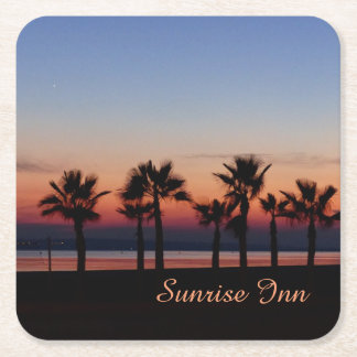 Tropical Palms at Sunset Personalized Square Paper Coaster