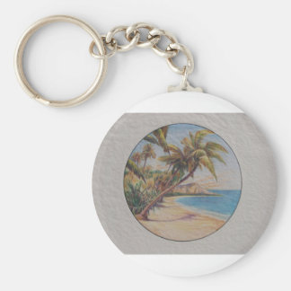 Tropical Palms Basic Round Button Keychain