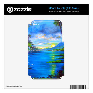 Tropical Palms Blue Decal For iPod Touch 4G