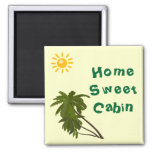 Tropical Palms Cabin Door Marker 2 Inch Square Magnet