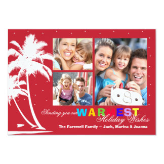 Tropical Palms Holiday Photo Card Announcement