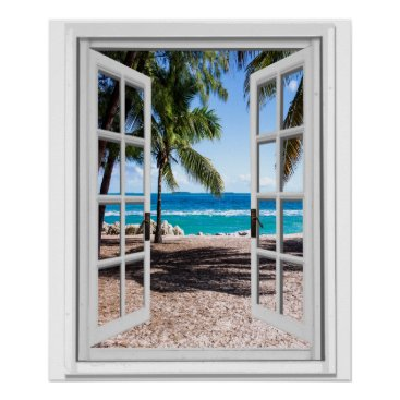 Beach Themed Tropical Palms on Beach Ocean View Faux Window Poster