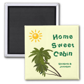 Tropical Palms Personalized Cabin Door Marker 2 Inch Square Magnet