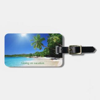 Tropical palmtrees paradise beach bag tag