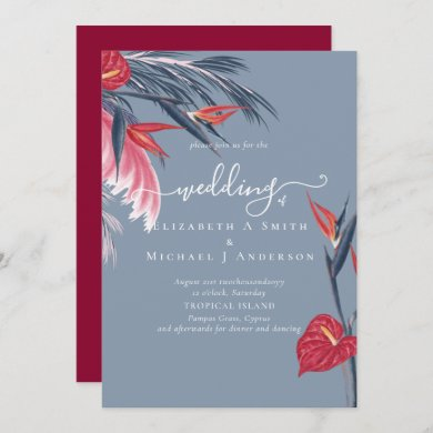 Tropical Pampas Grass Navy Berry Wedding