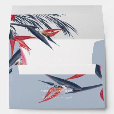 Tropical Pampas Grass Navy Berry Wedding Envelope