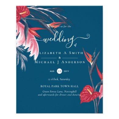 Tropical Pampas Grass Navy Berry Wedding Flyer