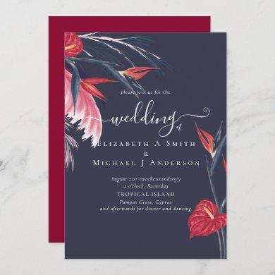 Tropical Pampas Grass Navy Berry Wedding Invitation