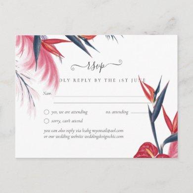 Tropical Pampas Grass Navy Berry Wedding Postcard