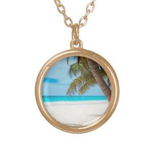 Tropical Paradise Beach Gold Finish Necklace