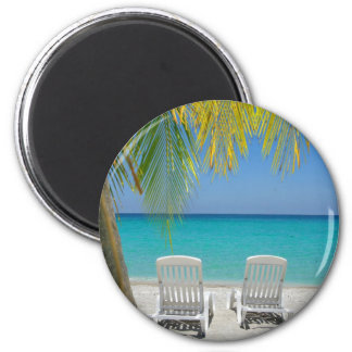 Tropical paradise beach in the Caribbean 2 Inch Round Magnet