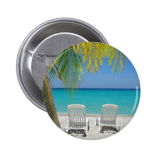 Tropical paradise beach in the Caribbean Pinback Button