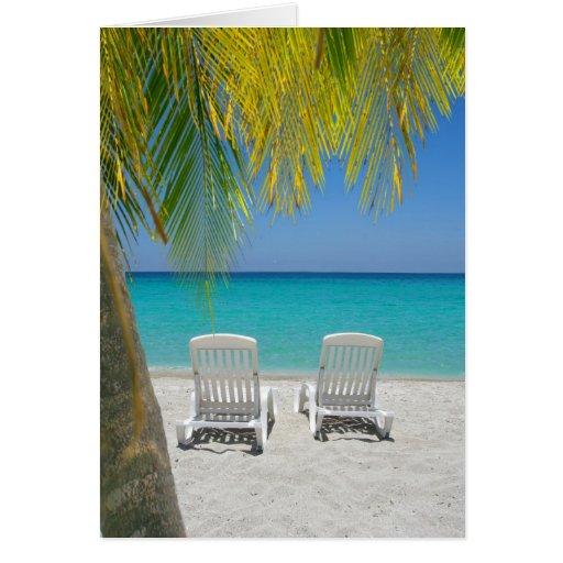 Tropical paradise beach in the Caribbean Greeting Card
