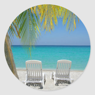 Tropical paradise beach in the Caribbean Classic Round Sticker