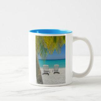 Tropical paradise beach in the Caribbean Two-Tone Coffee Mug