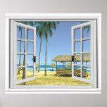 Tropical Paradise Beach Ocean View Fake Window Poster