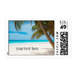 Tropical Paradise Beach Postage Stamp