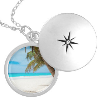 Tropical Paradise Beach Round Locket Necklace