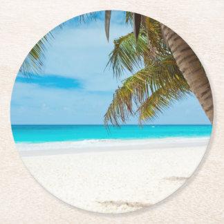 Tropical Paradise Beach Round Paper Coaster