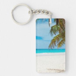 Tropical Paradise Beach Single-Sided Rectangular Acrylic Keychain
