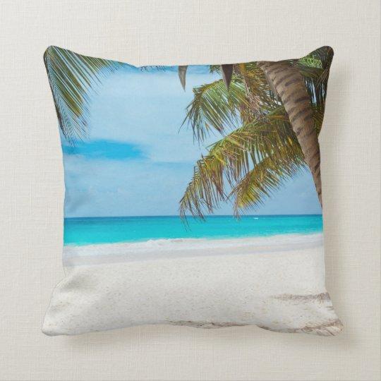 Tropical Paradise Beach Throw Pillow