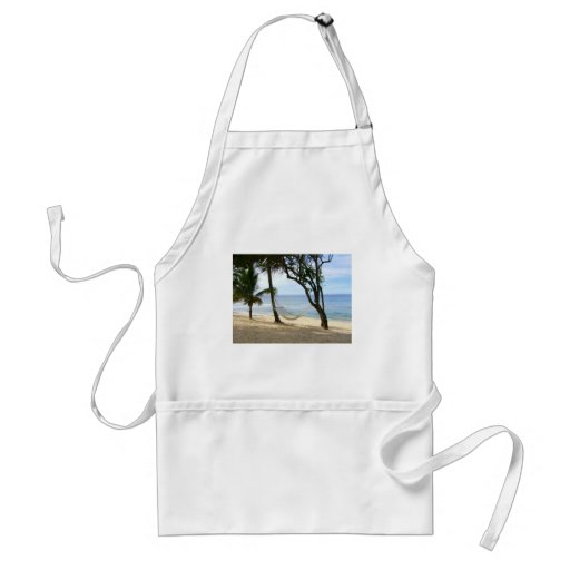 Tropical Paradise Beach Water Sand Sun Sky Palm Aprons