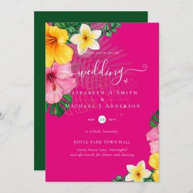 Tropical Paradise Beach Wedding Vibrant Florals