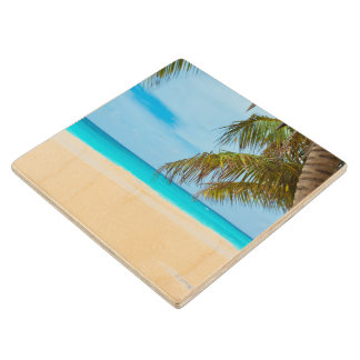 Tropical Paradise Beach Wood Coaster