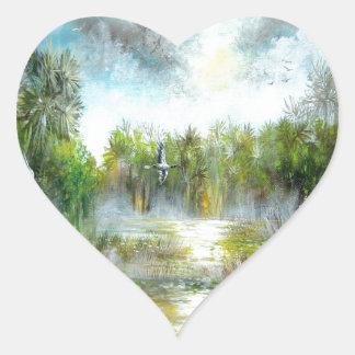 Tropical Paradise Design Heart Sticker