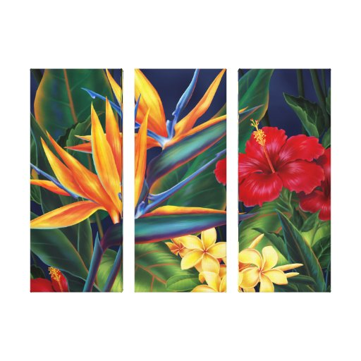 Tropical Paradise Hawaiian 3-Panel Wrapped Canvas Gallery Wrap Canvas