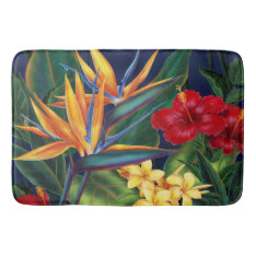 Tropical Paradise Hawaiian Floral Bathroom Mat at Zazzle