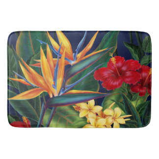 Tropical Paradise Hawaiian Floral Bathroom Mat