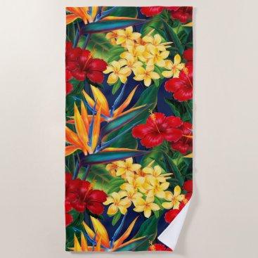 Beach Themed Tropical Paradise Hawaiian Floral Beach Towel
